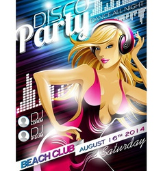 Disco party flyer design with sexy girl and headph vector