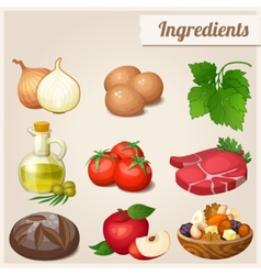 Set of food icons ingredients vector