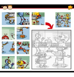 Robots jigsaw puzzle game vector