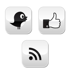 Social media buttons set - like it bird rss vector