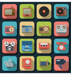 Retro electronic flat icons vector
