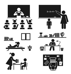 School days pictogram icon set school children vector