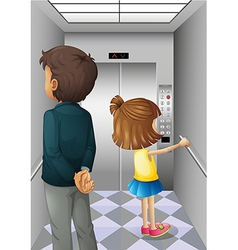 An elevator with a man and a young girl vector