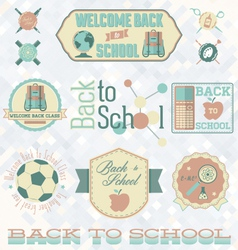 Retro style back to school labels vector