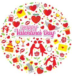 Love icons with valentine text vector