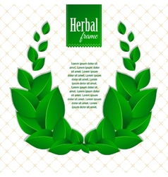 Herbal eco wreath of natural green leaves vector