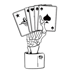 Skeleton hand with cards vector