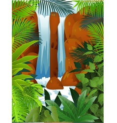 Tropical forest with waterfall vector