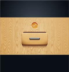 Archive wooden shelves open card catalog vector