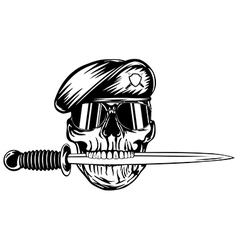 Skull in beret with dagger vector