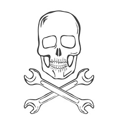 Hand draw skull with crossed wrenches vector