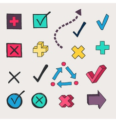 Colorful check marks and check boxes drawn vector