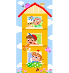 Cartoon building with cutte children vector