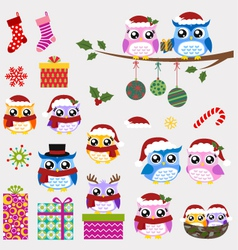 Owl christmas ornaments and gifts set vector