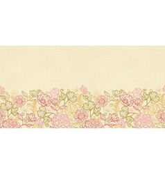 Textile flowers horizontal seamless pattern vector