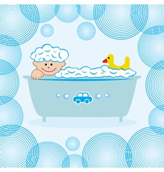 Baby boy bath water vector