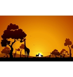 Giraffe and deer in jungle vector