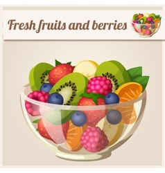 Salad with fresh fruits and berries vector