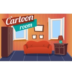 Cartoon apartment livingroom interior house room vector