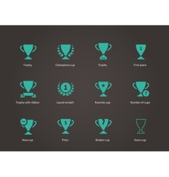 Trophy and awards icons vector