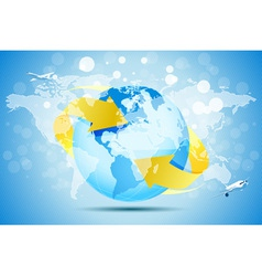Blue background with planet earth vector