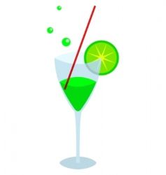 Glass with an green drink vector