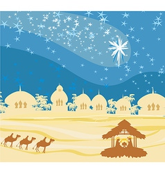 Biblical scene - birth of jesus in bethlehem vector