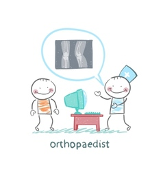 Orthopaedist tells the patient about an x-ray vector