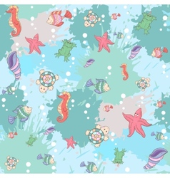 Pattern sea life on the blue background vector