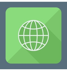 Flat style icon with long shadow earth globe vector