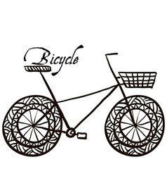 Sketch drawing a bicycle vector