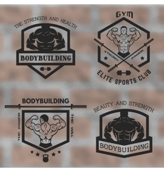 Emblems with posing bodybuilder vector