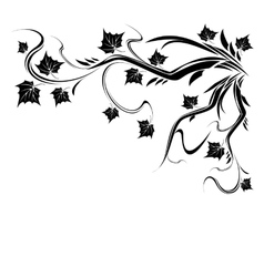 Stylized black tree with leaves vector