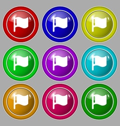 Flag icon sign symbol on nine round colourful vector