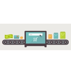 Money to purchases internet shopping  flat design vector