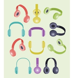 Isometric colored headphones vector