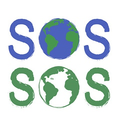 Sos scratch grunge graffiti print sign with planet vector