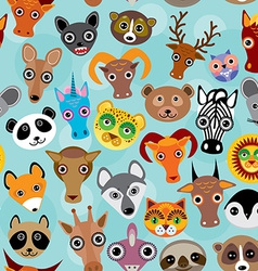 Seamless pattern cute face funny animals on blue vector
