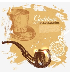 Sketch gentlemen accessory vintage background vector