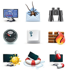 Computer security icons vector