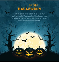 Blue grungy halloween background with pumpkins vector