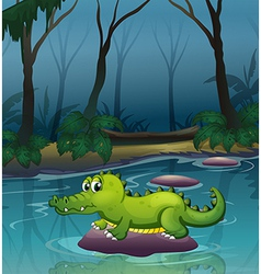 An alligator at the river inside the forest vector