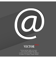 Commercial at flat modern web button with long vector