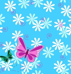 Pink butterfly and flowers seamless pattern vector