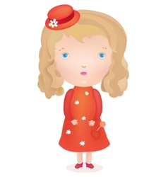 Little cute blond girl in a red dress and hat vector