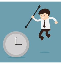Businessman hold the arrow killing the time vector
