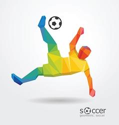 Soccer football kick striker player geometric vector