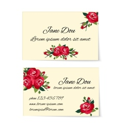 Two business card templates with red roses vector