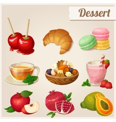 Set of different food icons dessert vector
