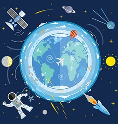 Flat of planet earth and space icons astron vector